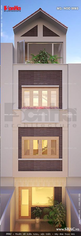 Kiến trúc mặt sau nhà ống 4 tầng