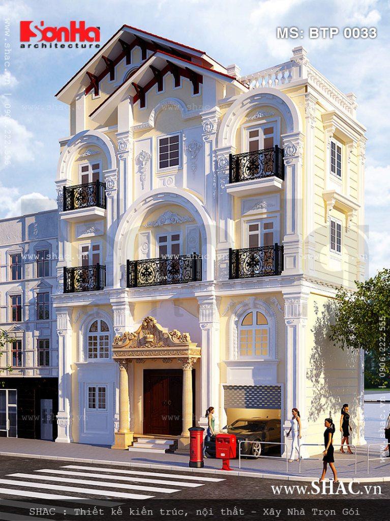 Mặt tiền biệt thự 4 tầng kiến trúc Pháp đẹp