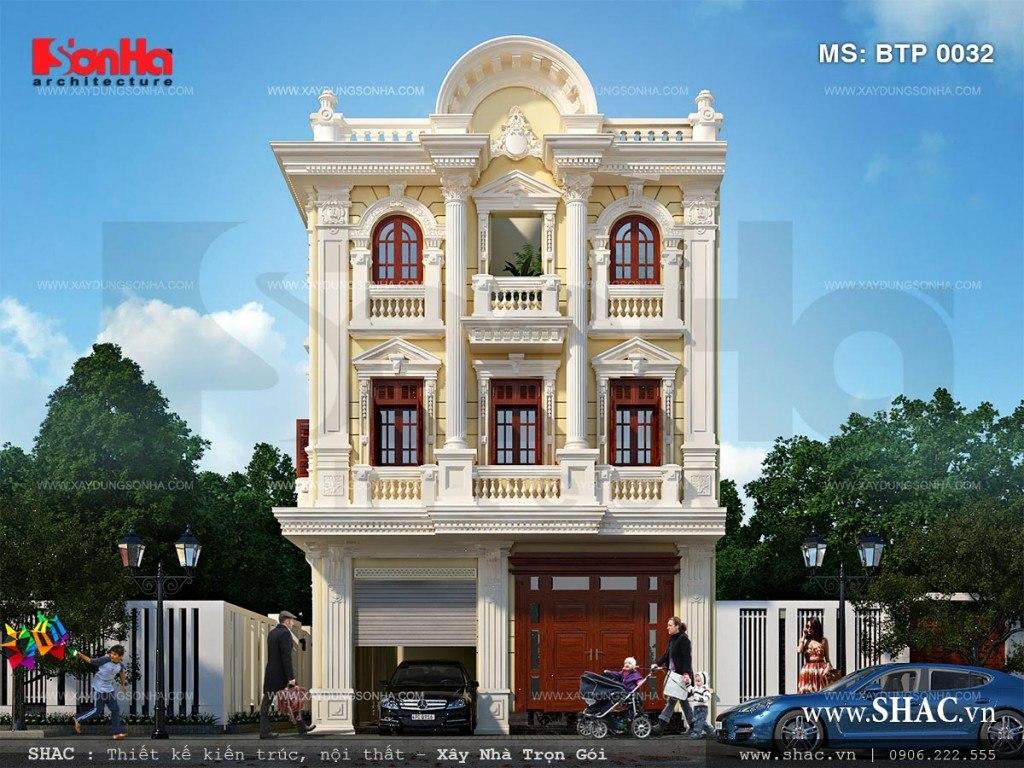 Mẫu thiết kế biệt thự kiểu Pháp 3 tầng đẹp