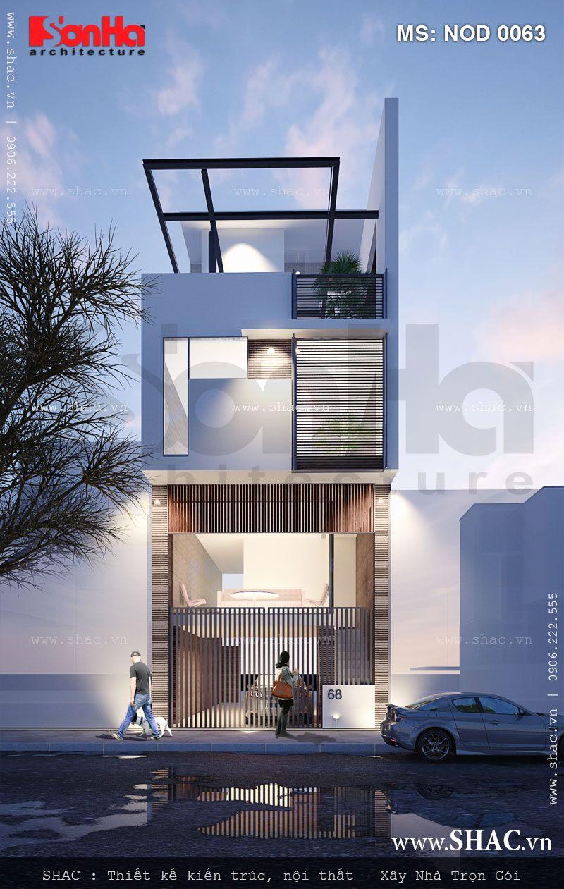 Thiết kế nhà ống 3,5 tầng theo kiến trúc hiện đại - NOD 0063 2