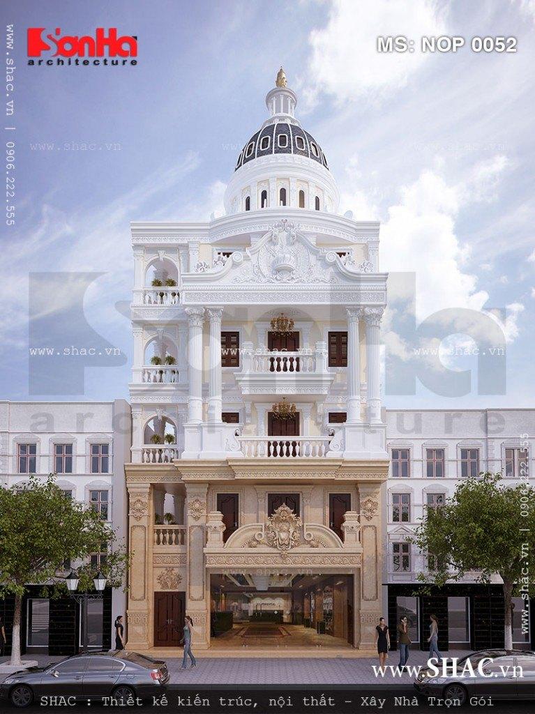 Kiến trúc của ngôi nhà phố bán biệt thự kiểu Pháp đẹp với thiết kế mái vòm ấn tượng