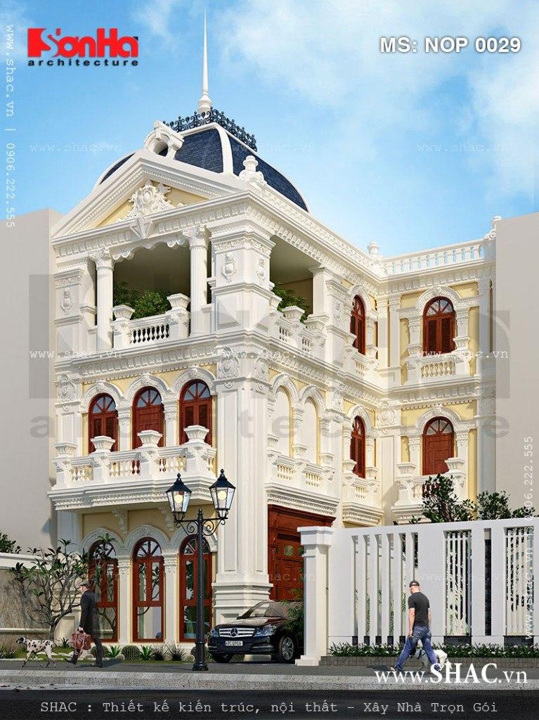 Diện mạo khang trang của mẫu thiết kế nhà phố giả biệt thự kiến trúc Pháp đẹp tinh tế