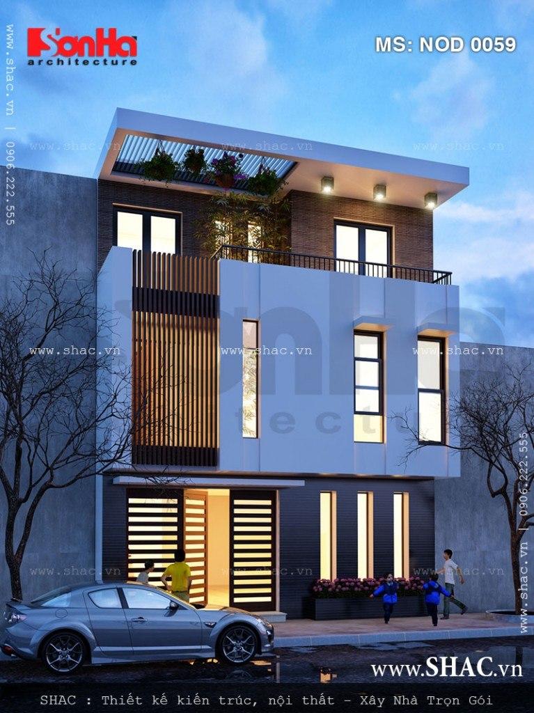 Thiết kế nhà lô 3 tầng kiểu hiện đại