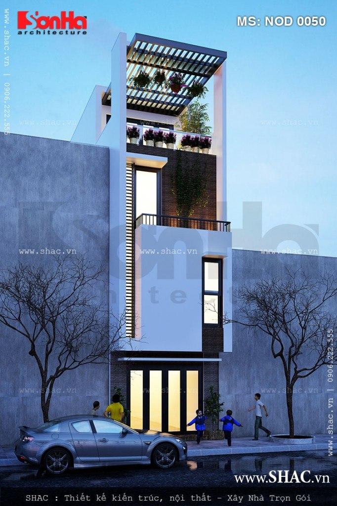 Sự thanh nhã và ấn tượng của mẫu thiết kế nhà ống hiện đại 4 tầng mặt tiền hẹp sang