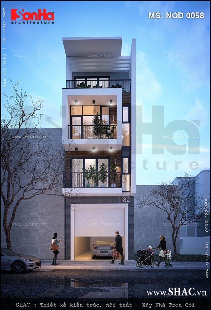 Mẫu thiết kế nhà ống hiện đại 4 tầng được đánh giá cao của các kiến trúc sư SHAC