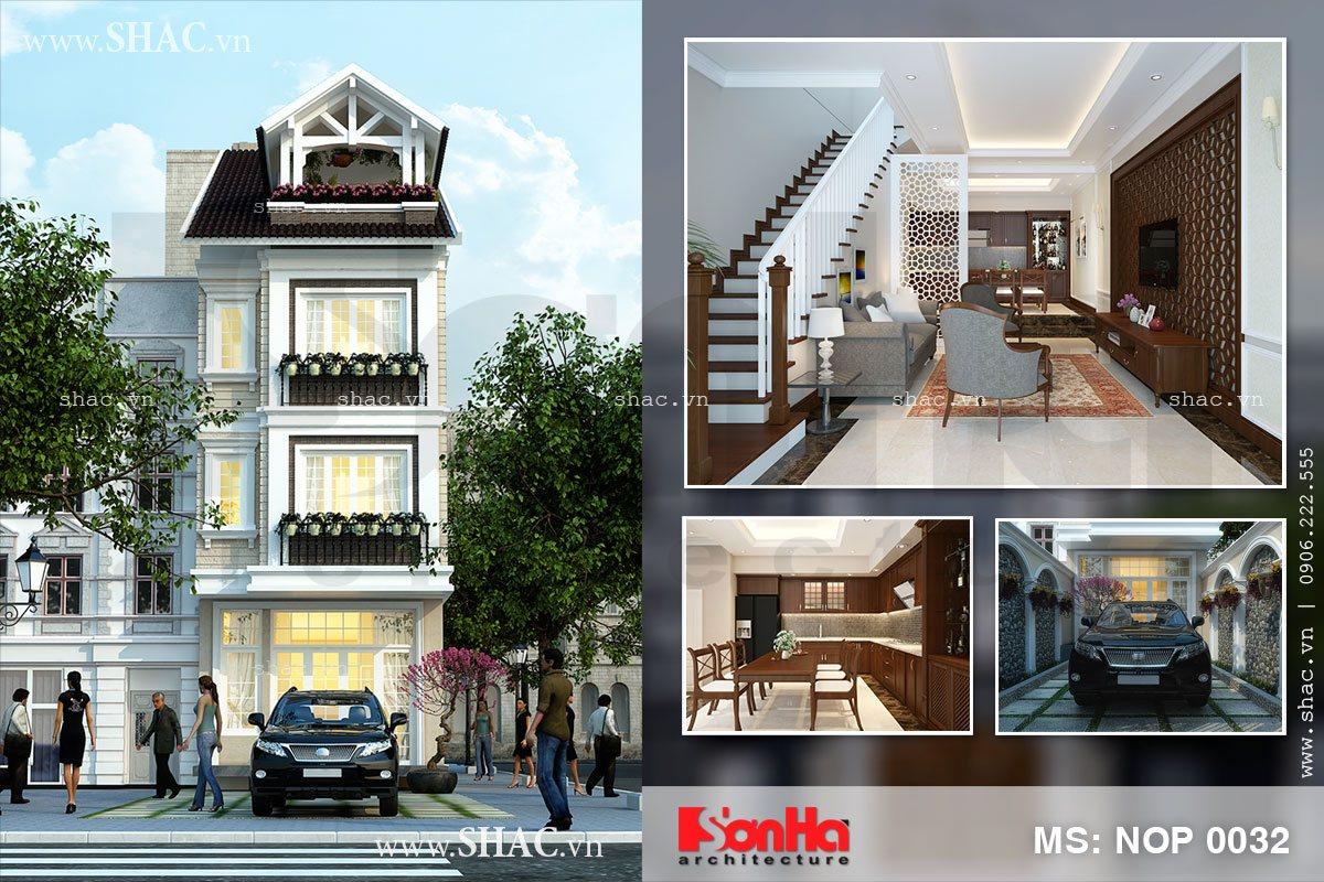 Thiết kế nhà phố kiến trúc Pháp 3 tầng đẹp