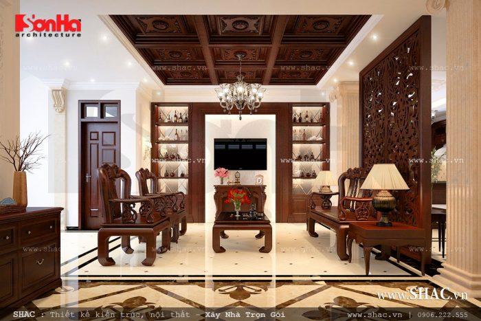 Thiết kế phòng khách cổ điển với nội thất gỗ đẳng cấp