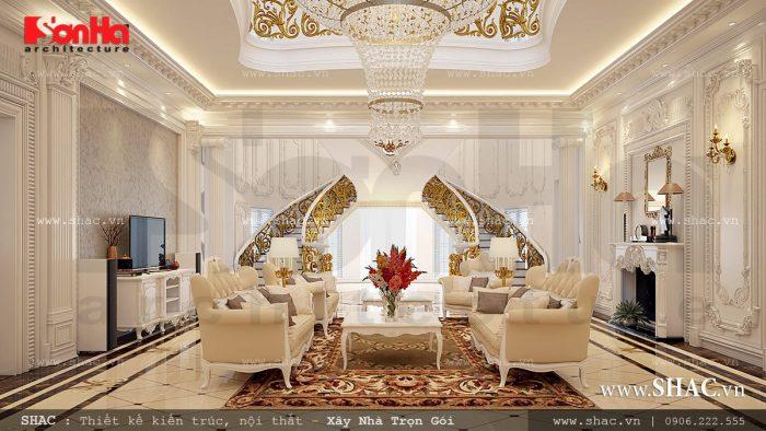 Nội thất phòng khách sang trọng trong không gian rộng của biệt thự kiểu Pháp 3 tầng