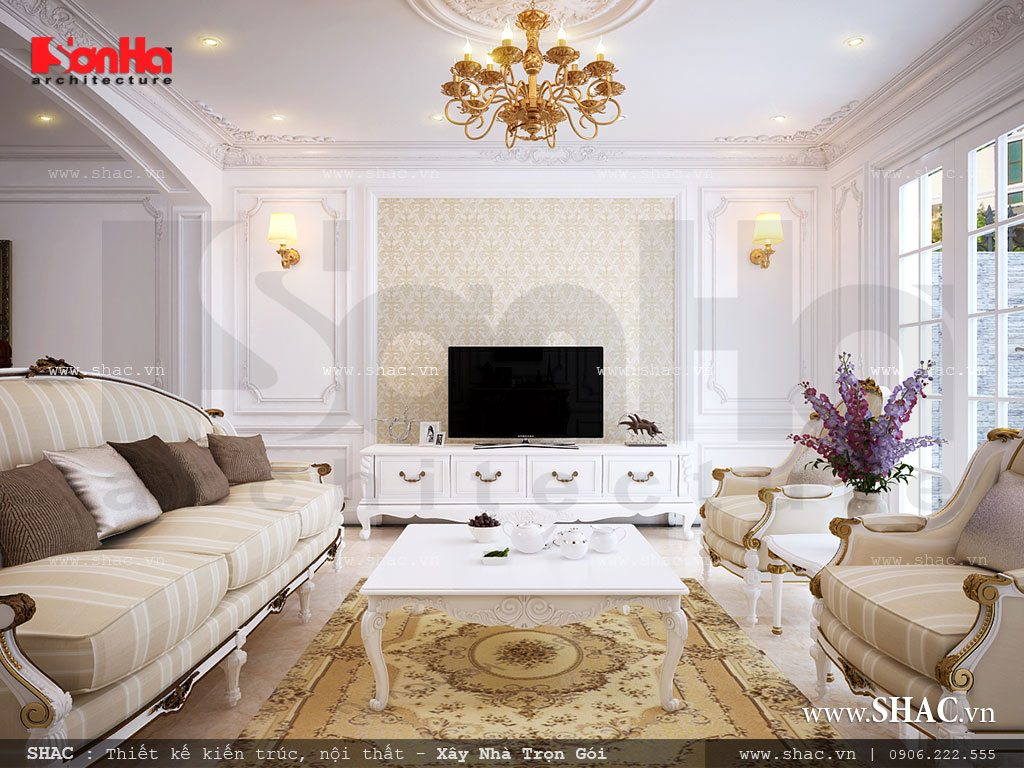 Nội thất phòng khách Pháp cổ điển