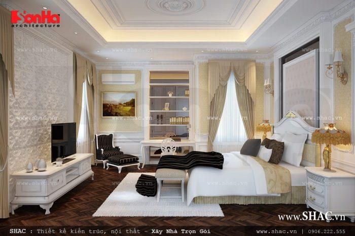 Mẫu thiết kế nội thất phòng ngủ sang trọng được bày trí ngăn nắp của biệt thự Pháp 3 tầng