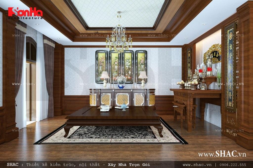 Mẫu nội thất phòng thờ truyền thống