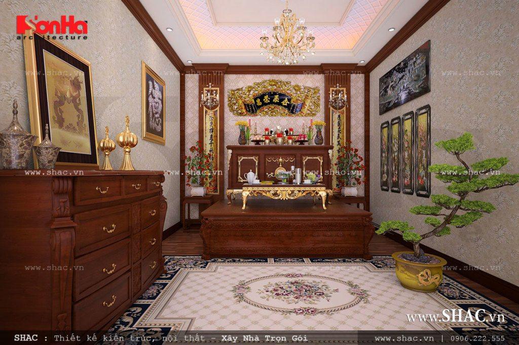 Nội thất phòng thờ truyền thống và trang trọng