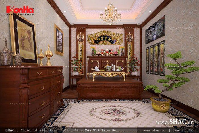 Mẫu thiết kế nội thất phòng thờ cổ điển truyền thống trang nghiêm
