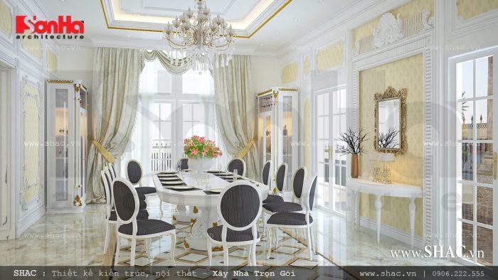 Thiết kế phòng ăn nội thất cổ điển đẹp của biệt thự Pháp 3 tầng