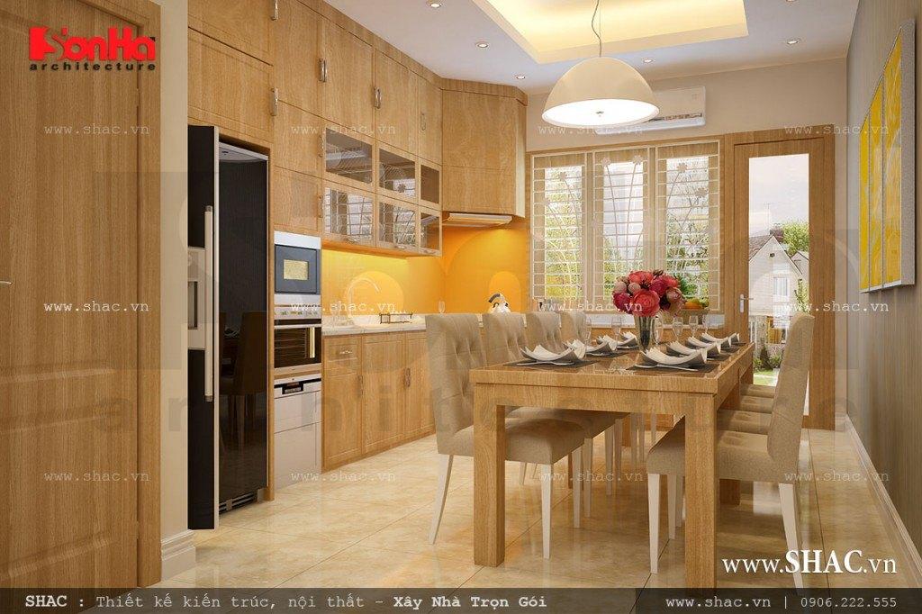 Mẫu phòng ăn đẹp với nội thất tủ bếp gỗ
