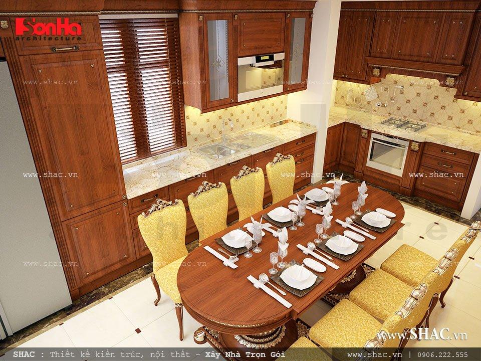 Nội thất phòng bếp ăn với nội thất cổ điển