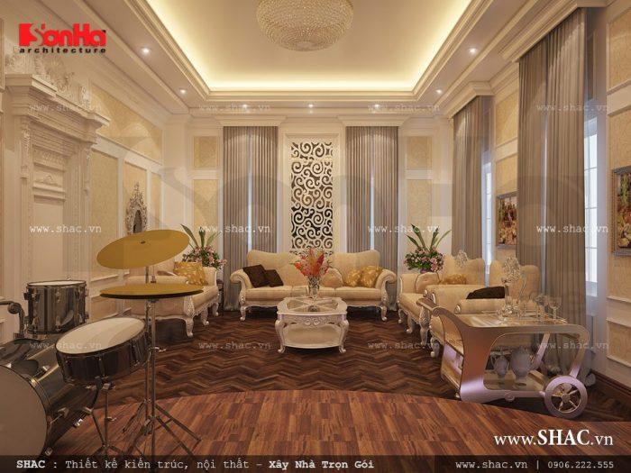 Mẫu nội thất phòng hát karaoke của biệt thự kiểu Pháp 3 tầng là nơi thư giãn của cả gia đình