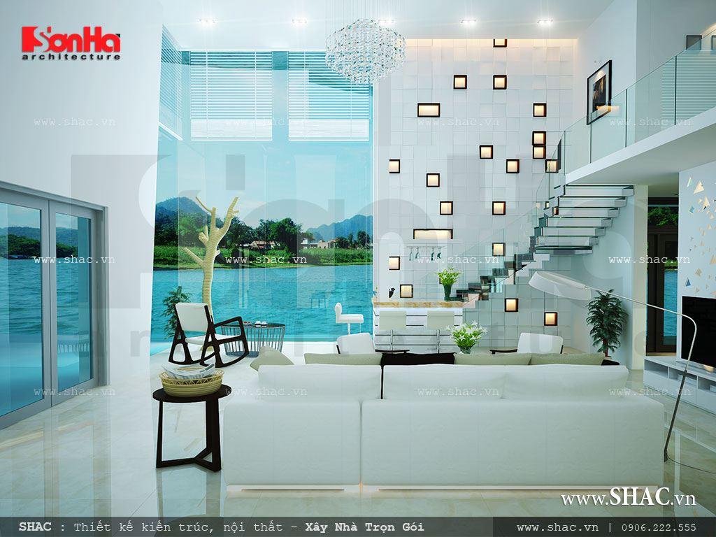 Thiết kế phòng khách biệt thự hướng ra biển