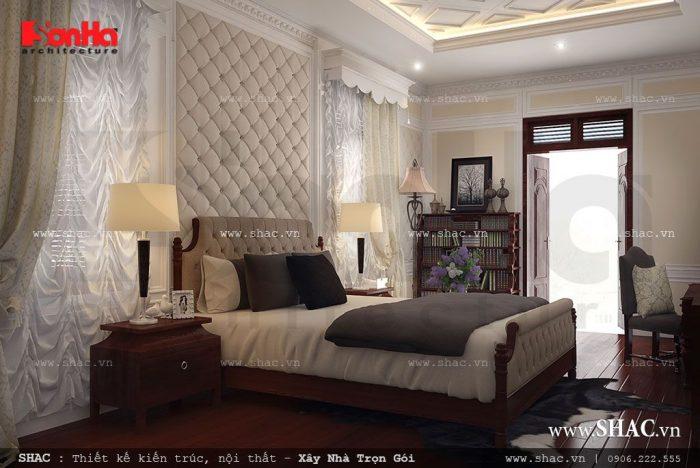 Mẫu thiết kế nội thất phòng ngủ đậm chất cổ điển Pháp trong không gian đầy đủ ánh sáng và cân gió hợp lý