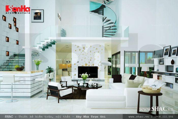 Độc đáo với phương án thiết kế phòng khách biệt thự mang phong cách hiện đại độc đáo vừa tiện nghi vừa sang trọng