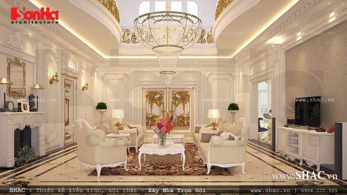 Gam màu trắng được lựa chọn làm gam màu chủ đạo để thiết kế nội thất phòng khách biệt thự