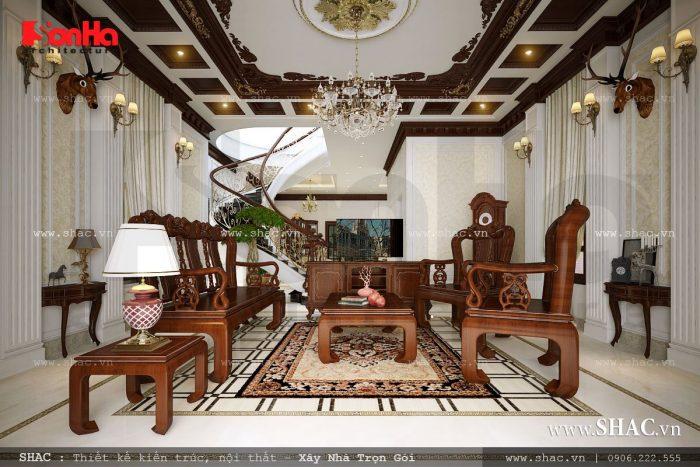 Mẫu phòng khách đơn giản dùng nội thất gỗ