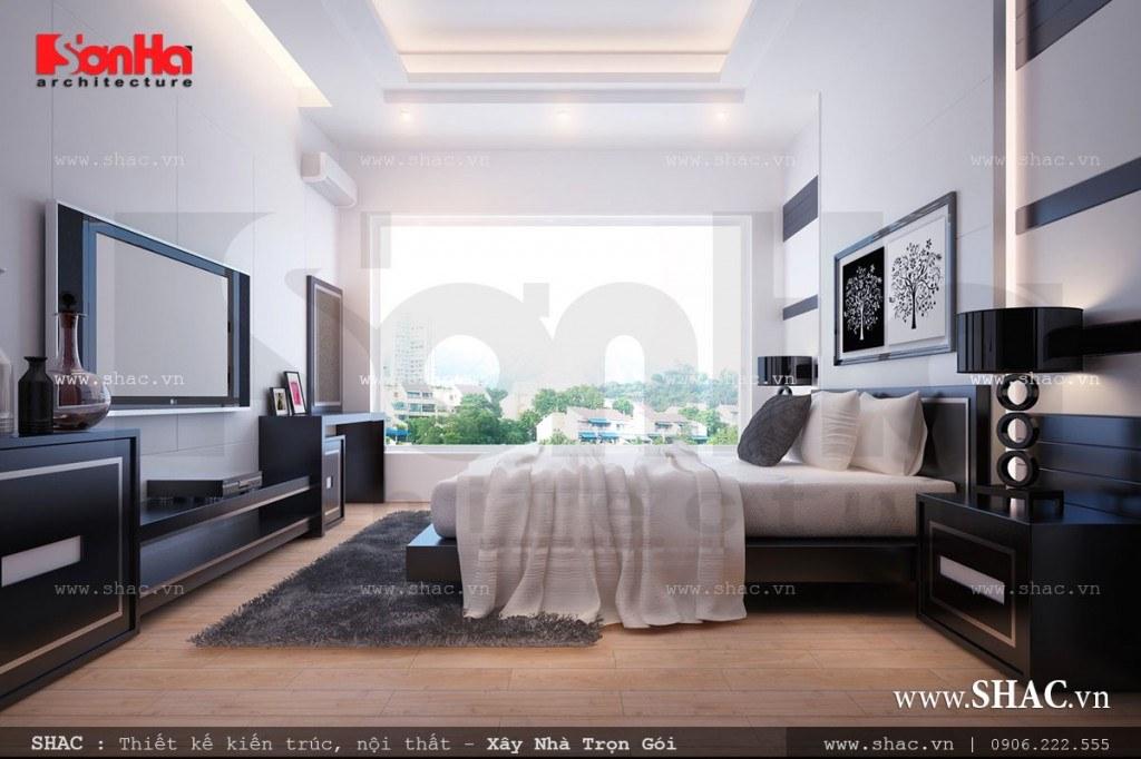 Phòng ngủ hiện đại có cửa kính rộng