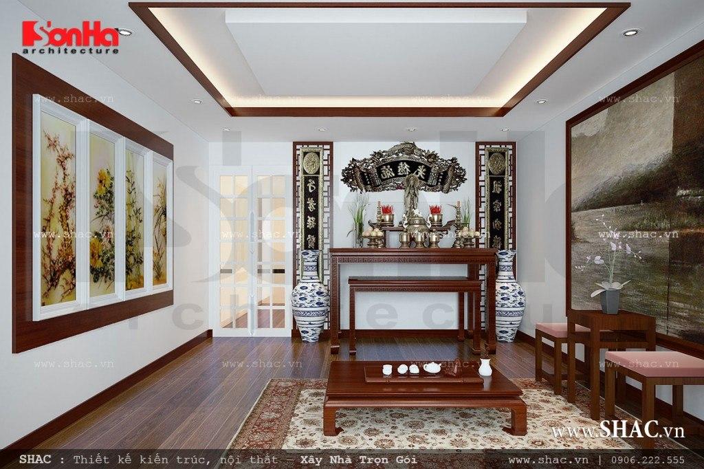 thiết kế nội thất phòng thờ đơn giản cho nhà phố