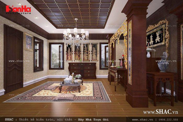 Không gian yên tĩnh và trang nghiêm của phòng thờ thiết kế theo kiểu truyền thống