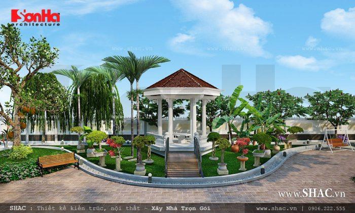 Sân vườn biệt thự thiết kế độc đáo và đẹp mang thiên nhiên đến gần không gian sống của biệt thự Pháp