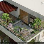 Mẫu sân vườn tầng thượng nhà ống