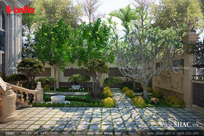 Ngôi biệt thự Pháp 3 tầng sở hữu không gian sân vườn tiểu cảnh đẹp