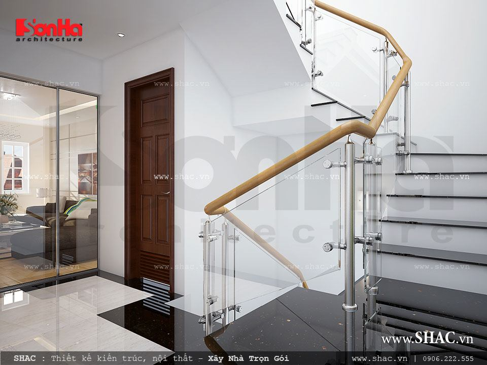 Thiết kế mẫu cầu thang kính đẹp