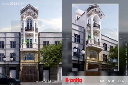 Thiết kế nhà lô phố kiểu Pháp 4 tầng rưỡi