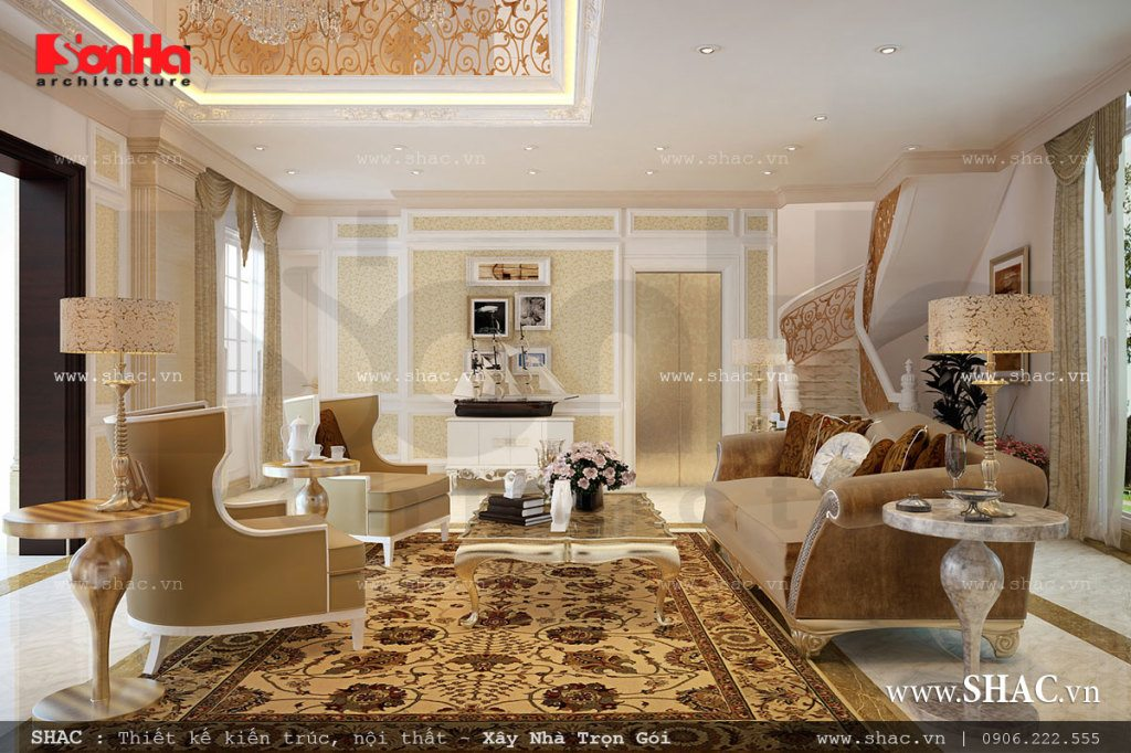Thiết kế phòng khách sang trọng và quyền quý
