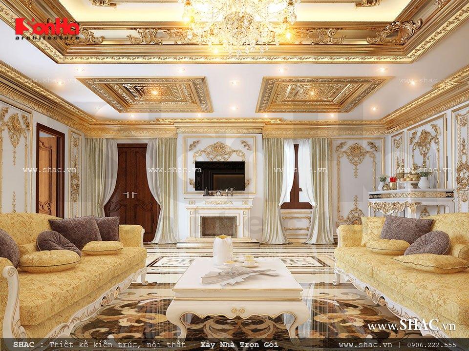 Mẫu phòng khách theo phong cách cổ điển châu Âu