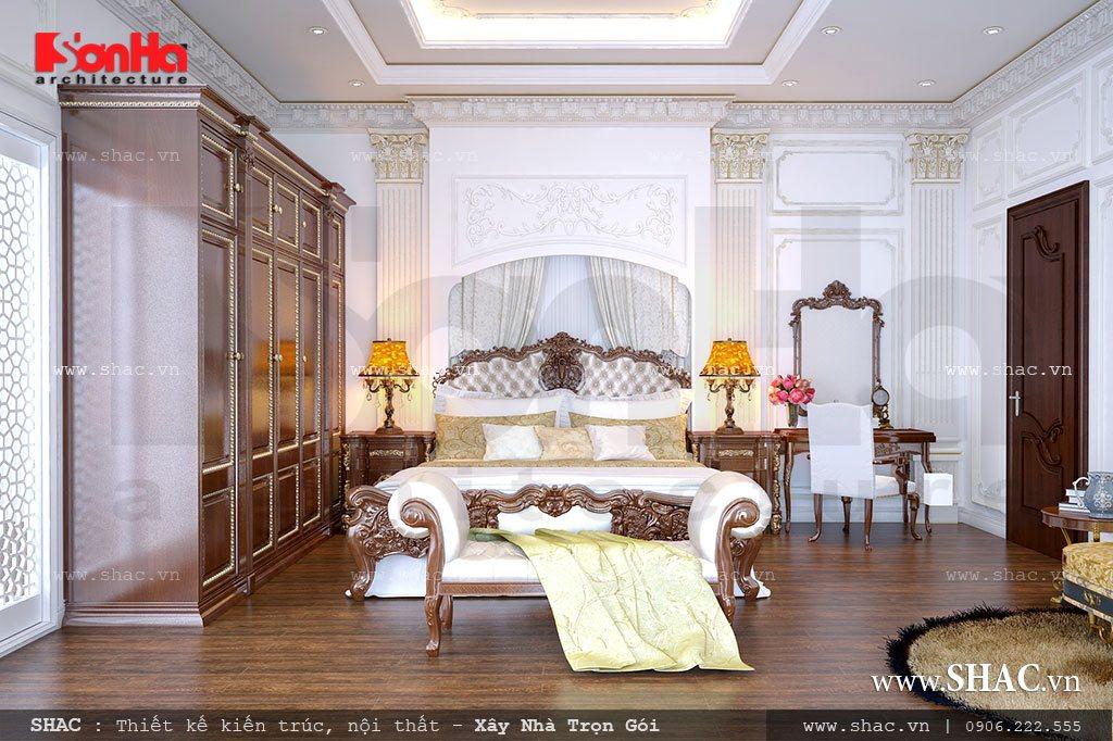 thiết kế nội thất phòng ngủ biệt thự cổ điển đẹp