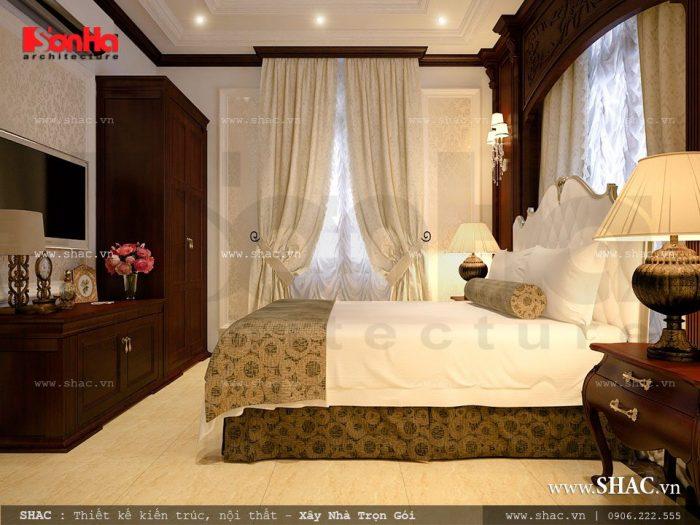 Mẫu thiết kế nội thất phòng ngủ kiểu cổ điển đẹp của biệt thự kiến trúc Pháp 4 tầng