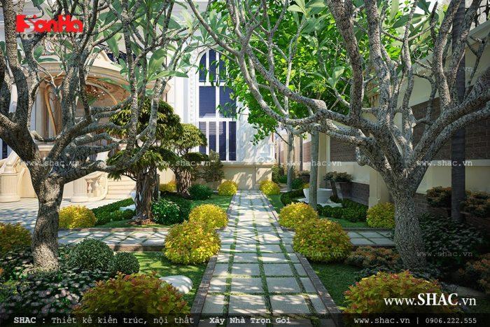 Không gian sân vườn được đầu tư thiết kế tỉ mỉ của biệt thự 3 tầng kiến trúc Pháp