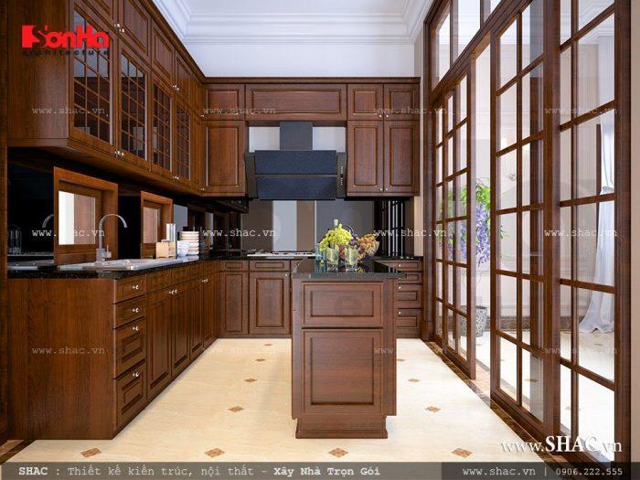 Tủ bếp gỗ thiết kế ngăn nắp và năng động phù hợp cho người vào bếp