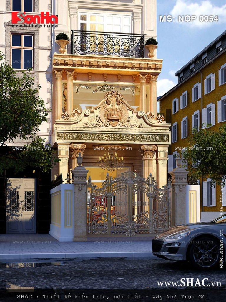 Mẫu kiến trúc đẹp mắt và sang trọng của cách thiết kế mặt tiền 5m nhà phố kiểu Pháp