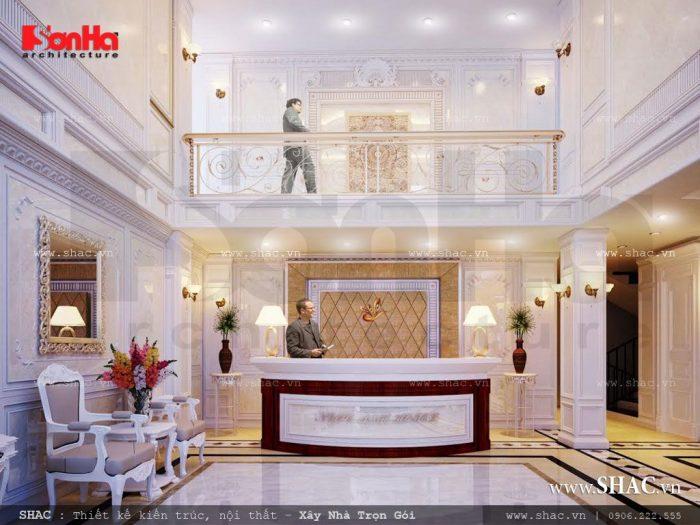 Mẫu thiết kế nội thất sảnh lễ tân khách sạn tiêu chuẩn 3 sao sang trọng tại Quảng Ninh