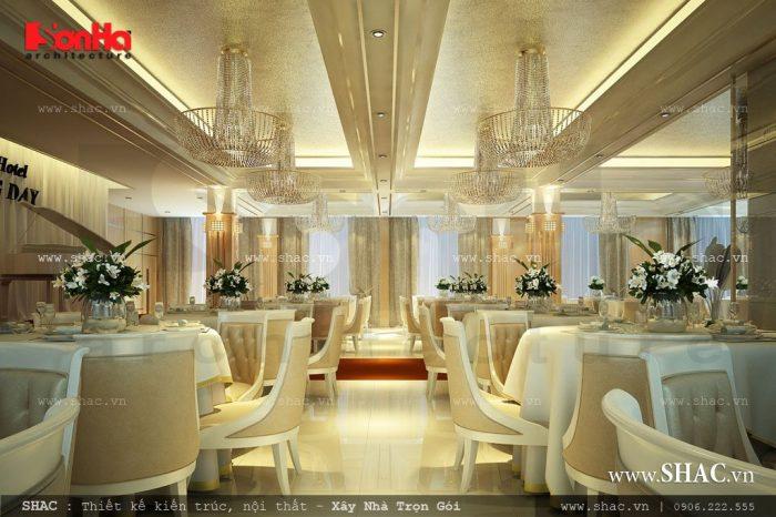 Không gian phòng ăn là sự kết hợp hài hòa trong thiết kế kiến trúc mang đến sự sang trọng và thể hiện tính chuyên ngiệp của khách sạn 4 sao tại Hải Phòng