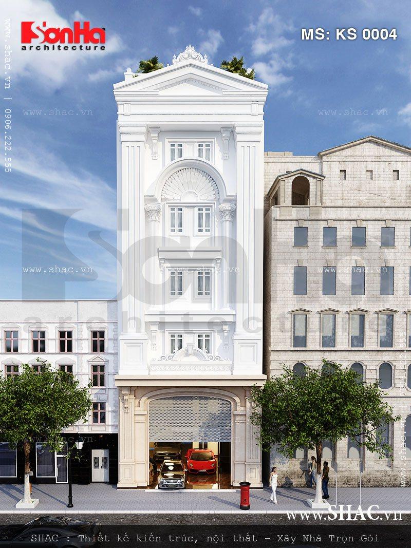 Phương án thiết kế có chiều sâu của mặt tiền kiểu Pháp mẫu khách sạn mini 5 tầng