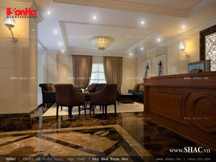 Khu vực sảnh khách sạn có thiết kế nội thất đạt tiêu chuẩn khách sạn 3 sao nhẹ nhàng và tinh tế