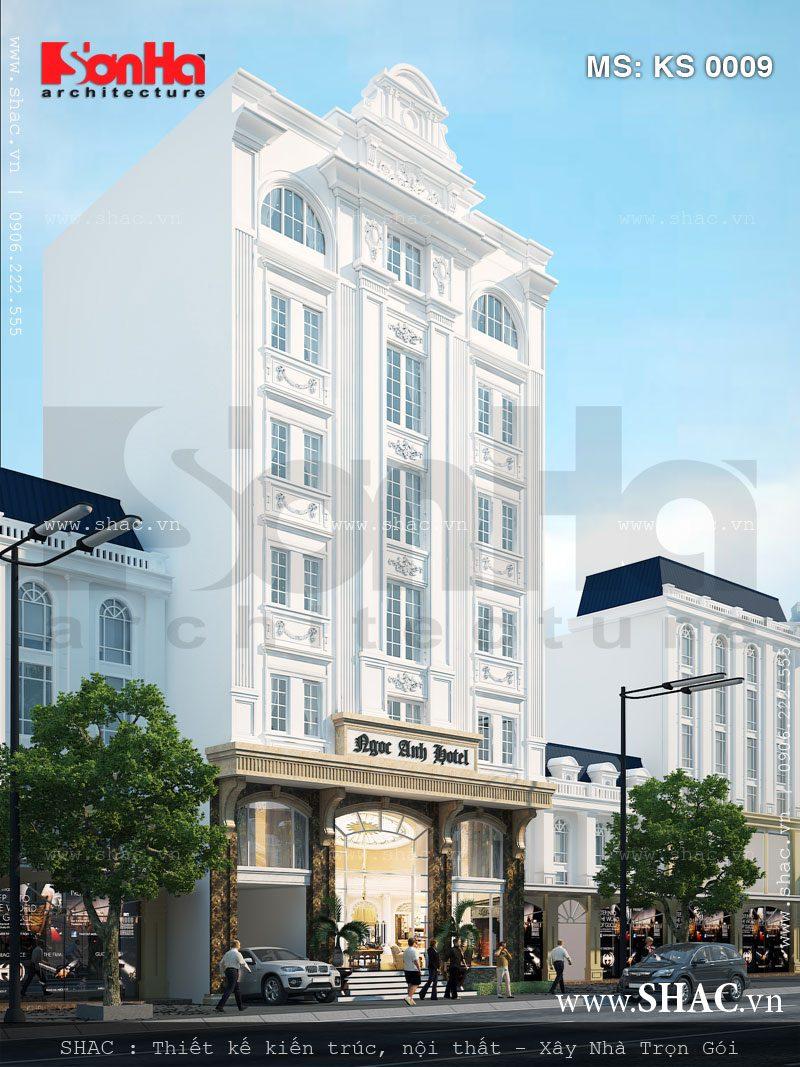 Kiến trúc của khách sạn 3 sao dù giản dị nhưng rất có chiều sâu với gam màu trắng thanh nhã