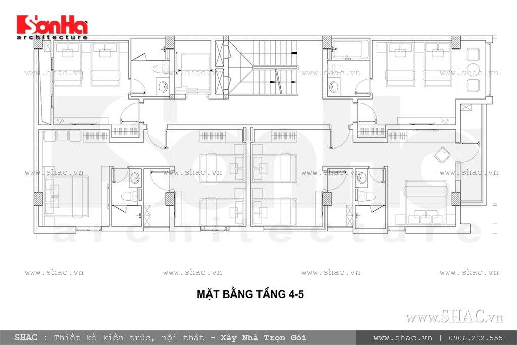 Thiết kế mặt bằng công năng tầng 4 và 5 khách sạn