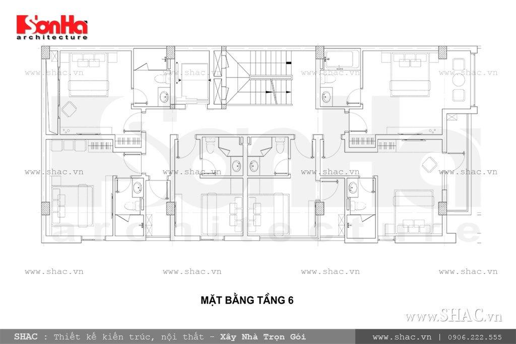 Thiết kế công năng tầng 6 khách sạn