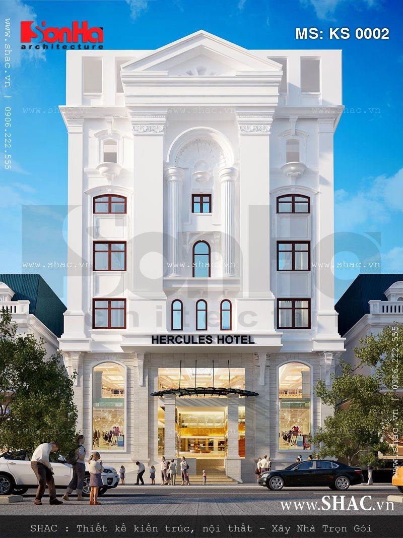 Gam màu thanh nhã và tinh tế làm nên sự bắt mắt của mặt tiền khách sạn kiểu Pháp