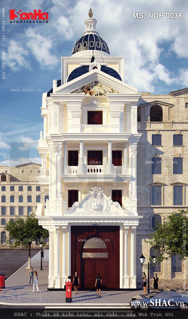 Đây cũng là phương án thiết kế kiến trúc mặt tiền nhà phố kiểu Pháp được CĐT yêu thích